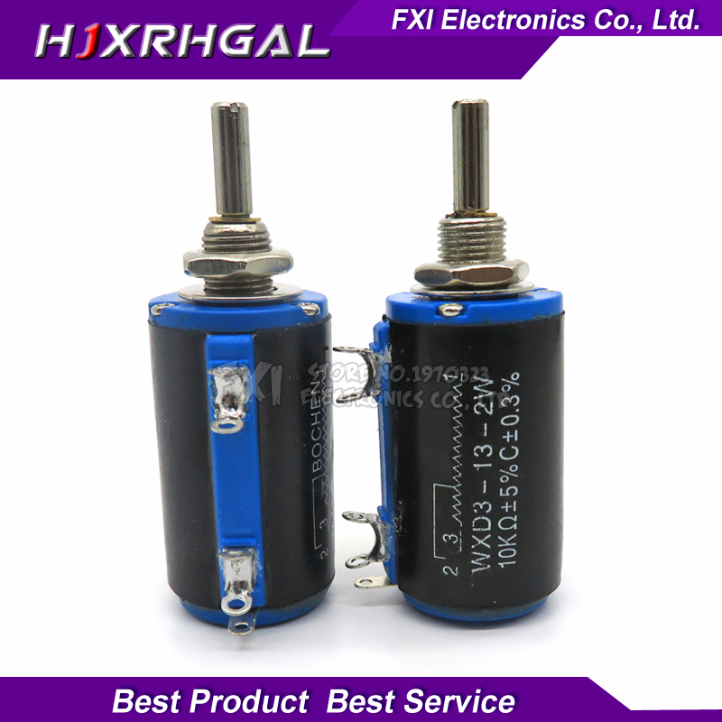 2PCS WXD3-13-2W 10K Ohm WXD3-13 2W Rotary Side Rotary Multiturn Wirewound Potentiometer