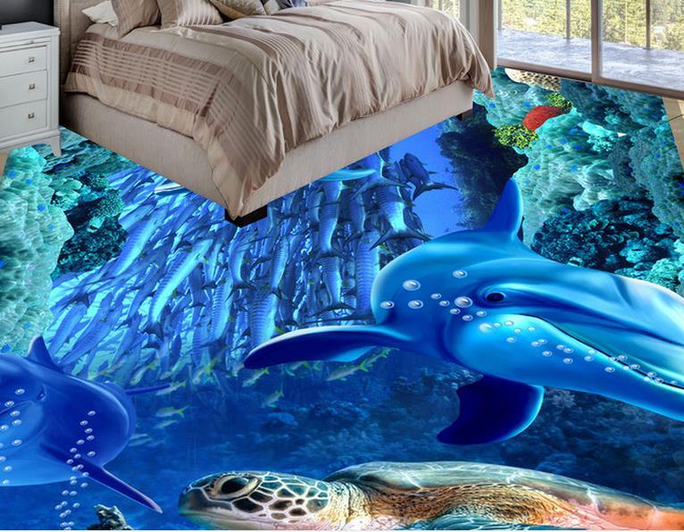 Custom D Floor Murals Photo Wallpaper Sea World Dolphin D Floor - 3d printed floor tiles