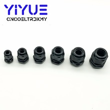 6pcs/lot IP68 PG7 for 3-6.5mm PG9 PG11 PG13.5 PG16 PG19 Wire Cable CE White Black Waterproof Nylon Plastic Gland Connector