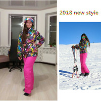 Winte rhigh quality Jackets woman Snowboarding winter sports clothing, ski sets Waterproof thick 30 warm suit Jackets + pants