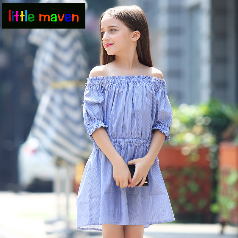 Teen Girls Dress Fashion Off Shoulder Striped Summer Children Clothing Kids Girls Princess Party Dress for 10 12 years old girls autumn kids dress cotton striped long sleeve birthday party dresses fashion style teen girls clothing 12 14 years children