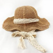 Handmade Laço de Fita de Chapéu de Sol de Verão Para As Mulheres Meninas  Palha Panamá chapéus Grande chapéu de Praia Aba Larga C.. b3db41f78a2