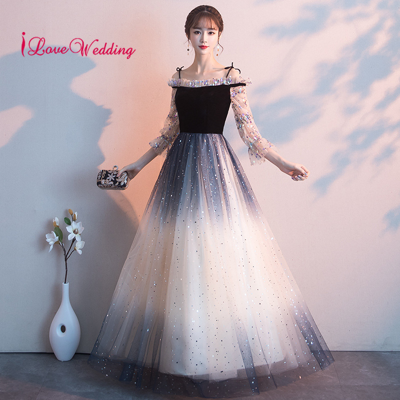 Hot New 2019 Off the Shoulder Sequin Formal   Evening     Dresses   Long Sleeves Floor Length Black Long   Evening   Gown for Party Gown