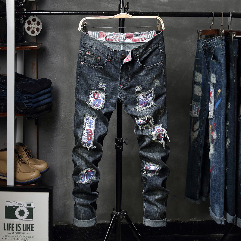 2018 Promotion New Zipper Fly Mid Fake Designer Clothes Hole Jeans Mens Slim Pants Retro Old Scratch Beggar Personality Youth