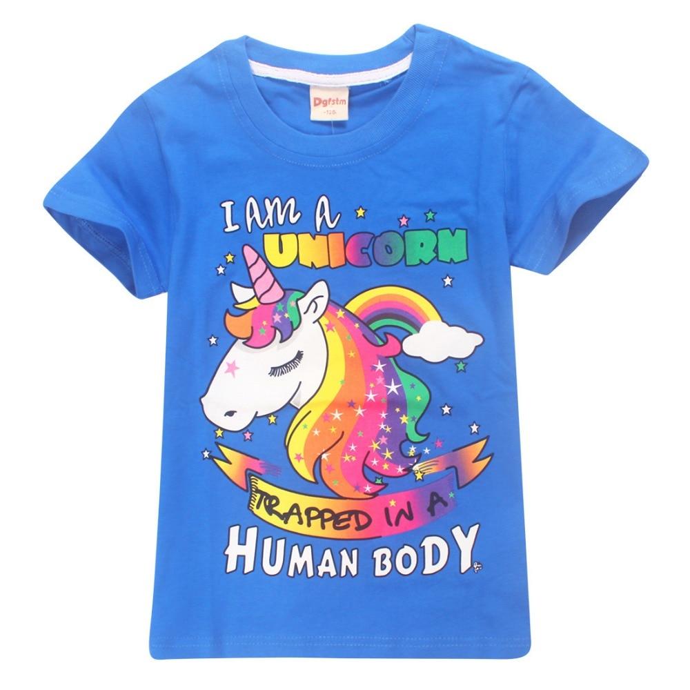 Boy Girl 2018 New Tops T Shirt Pure Color Unicorn Printed ...