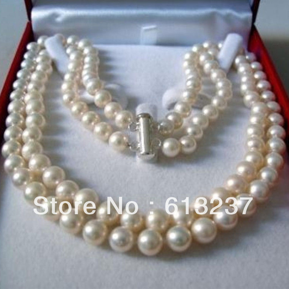 a8343ab4de1239 Fashion style 2 rows 8-9mm white akoya pearl making charms jewelry necklace  17-18inch YE2091