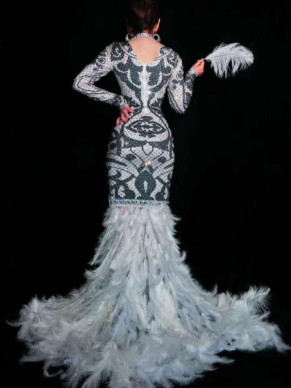 Hot koop sexy Zwart Witte Steentjes Bloemen Lange Trein Veer Jurken Glinsteren Kostuum Vrouwen Prom avondjurk - 5