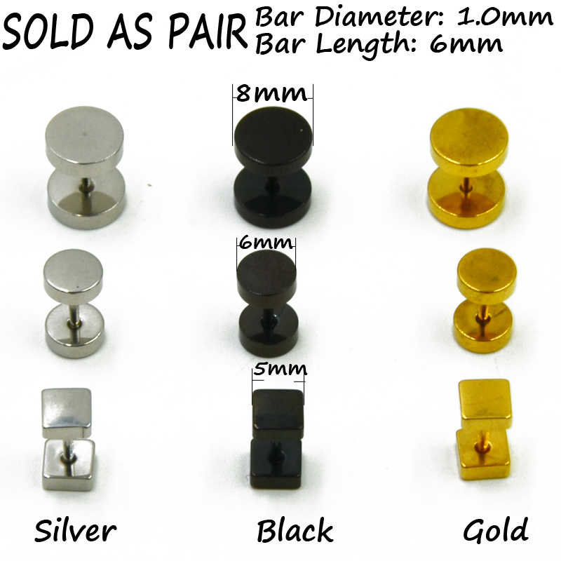 0f2d723735168 BOG-Pair 316L Surgical Steel Ear Studs Earrings Cheater Faux Fake Ear  Tunnel Plugs Gauges Body Piercing Jewelry 18g Gold Black