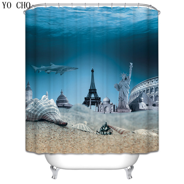 Christmas Shower Curtain Beach Scenery Lighthouse Bath Fabric 3d Waterproof For Bathroom Accessories Set