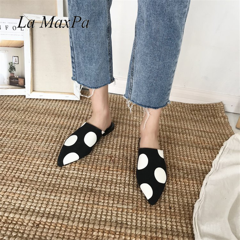 Women Slippers Black White Polka Dot PU Leather Women Mules Sandals Pointed Toe Flat Summer Flat With Lazy Cool Ladies Shoes pointed toe flat mules