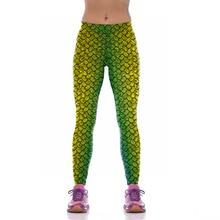 NEW KYK1042 Sexy Girl Women Mermaid Fish Scale 3D Prints High Waist Running Fitness Sport Leggings
