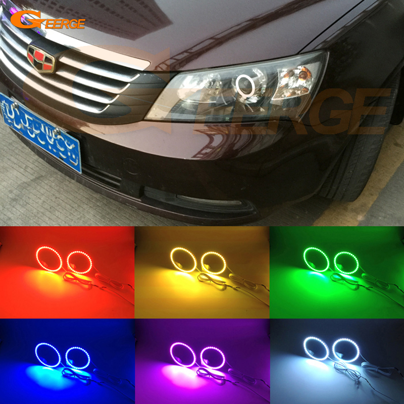 For Geely Emgrand EC7-RV (Emgrand 7 RV) 2010 2011 2012 Excellent Angel Eyes Multi-Color Ultra bright RGB LED Angel Eyes kit коврики в салон geely emgrand ec7 ec7 rv 2011