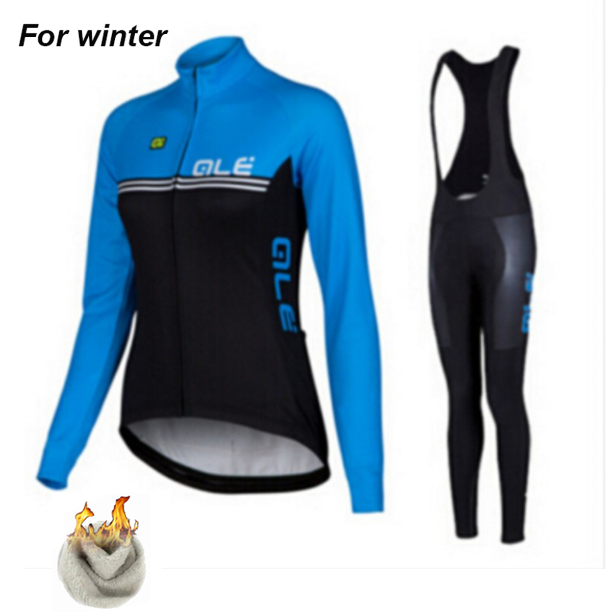 Ale Women Thermal Fleece Cycling Jersey Set Winter Outdoor Sport Coat Team Bicycle Clothing Bib Suit with 9D Gel Pad black thermal fleece cycling clothing winter fleece long adequate quality cycling jersey bicycle clothing cc5081