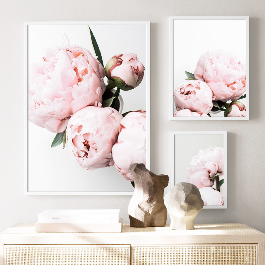 Canvas Paintings Home Decorative Nordic Plant Pink Peony Flower Pictures Modern Style Printed Poster For Living Room Wall Art