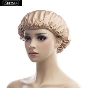 Image 3 - LilySilk casquette de nuit en soie, Bonnet de couchage pour cheveux bouclés, housse de nuit naturelle, 19 têtes pour maman, café blanc, taille unique, livraison gratuite