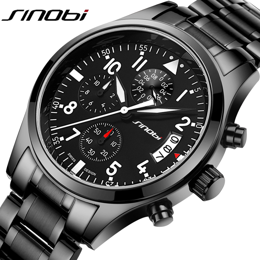 SINOBI Sports Military Quartz Watch Men's Top Luxury Brand Stainless Steel Band Clock Male Chronograph Clock Boy Wrist watch New sinobi lady s stainless steel band quartz wrist watch w 3 watch bands cases silver 1 x 626