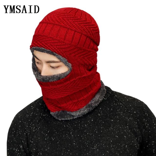 d9ff7e62700 Ymsaid 2018 Hot Balaclava Men Knitted Hat Scarf Cap Neck Warmer Mask Winter  Hats For Women Skullies Beanies Warm Fleece Cap