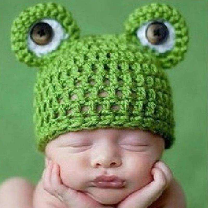 Newborn Baby Beanie Knit Crochet Hats Toddler Boys Girls Photography Props Caps Lovely Frog Handmade Hat Photo Outfit Fotografia