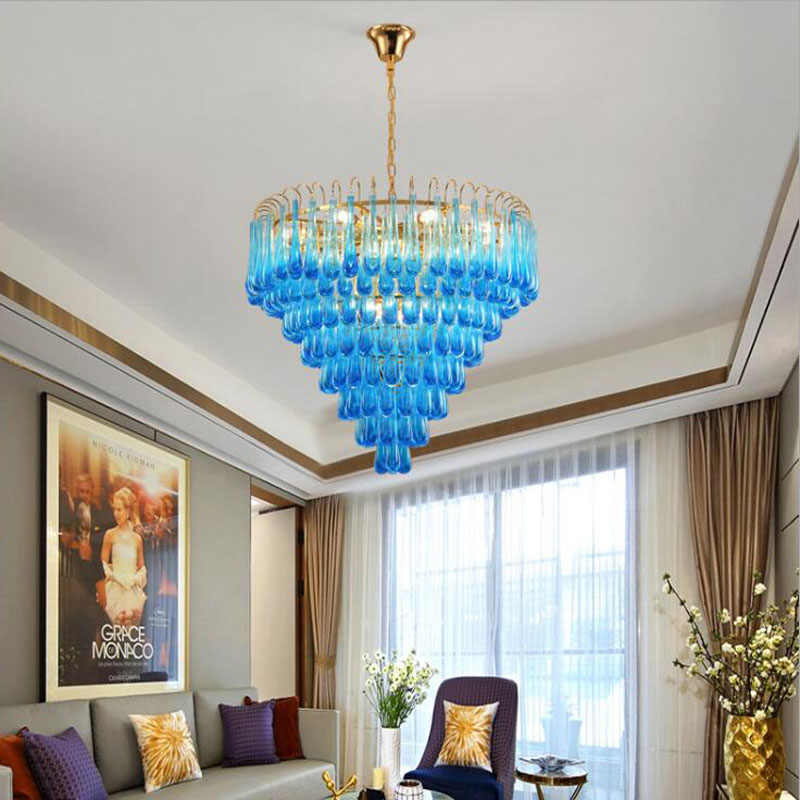 L постсовременная роскошная хрустальная люстра для гостиной, столовой, синий в виде капли воды, индивидуальный креативный дизайн, модель комнаты, лампа