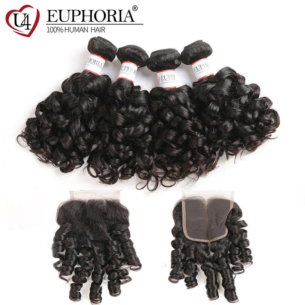 Bouncy Curly Remy Human Hair 1/3 Bundles With Lace Closure 4x4 Euphoria Brazilian Natural Color Bundle Hair Weaves With Closures