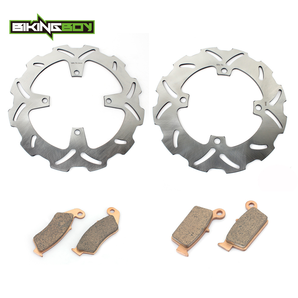 BIKINGBOY Motorcycle Motocross Front Rear Brake Disk Disc Rotor Pad for KAWASAKI KX125 KX 125 2003 2004 2005 1 Set motorcycle part front rear brake disc rotor for yamaha yzf r6 2003 2004 2005 yzfr6 03 04 05 black color