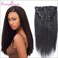 Grau 7A Grampo em Extensões de Cabelo Humano Luz Yaki/Yaki Em Linha Reta Grampo de Cabelo para As Mulheres Negras Virgem mongol Rainha Ensolarado cabelo