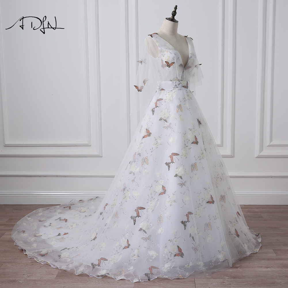 ADLN Deep V neck Photography Wedding Dresses with Butterfly Print Flare  Sleeve Court Train A line Bridal Gown -in Wedding Dresses from Weddings    Events on ... 9441c8007a00