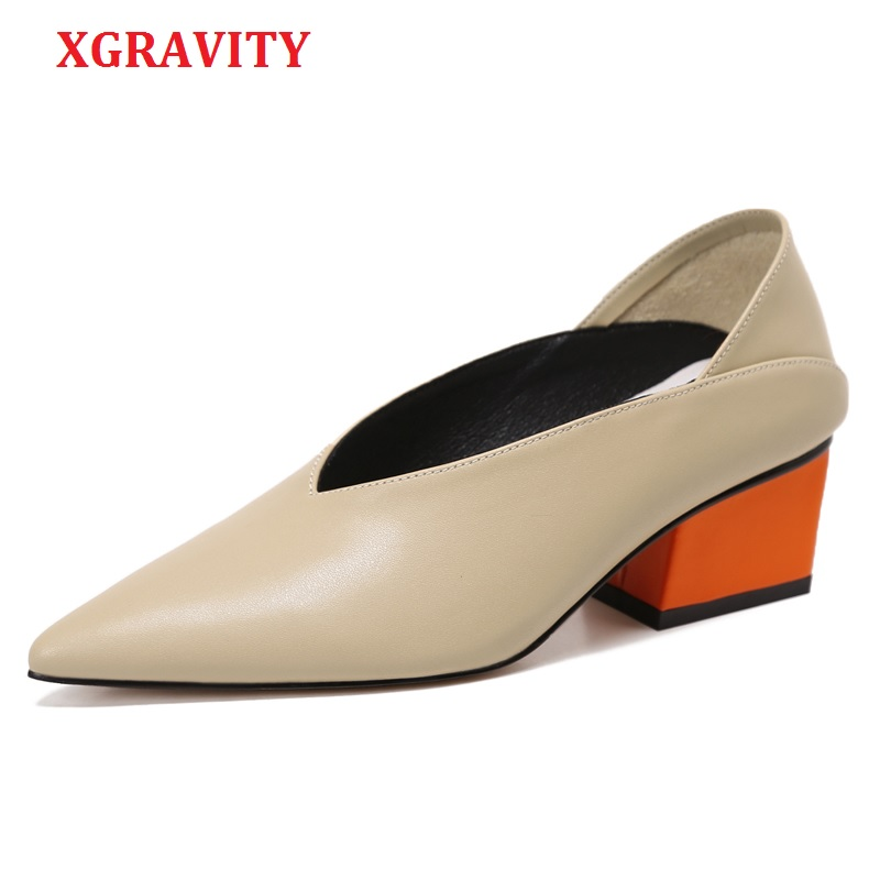 XGRAVITY Vintage Genuine Leather Chunky Mix Color Mid-Heeled Hot Women Shoes Pointed Toe Dress Sexy V Design Retro Female Shoes