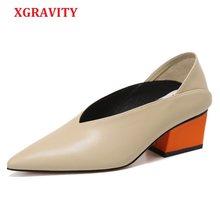 9c1bfe70 XGRAVITY Vintage de cuero grueso de Color de la mezcla de tacón caliente de  las mujeres zapatos de punta vestido Sexy V diseño R..