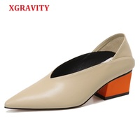 XGRAVITY Vintage Genuine Leather Chunky Mix Color Mid Heeled Hot Women Shoes Pointed Toe Dress Sexy V Design Retro Female Shoes