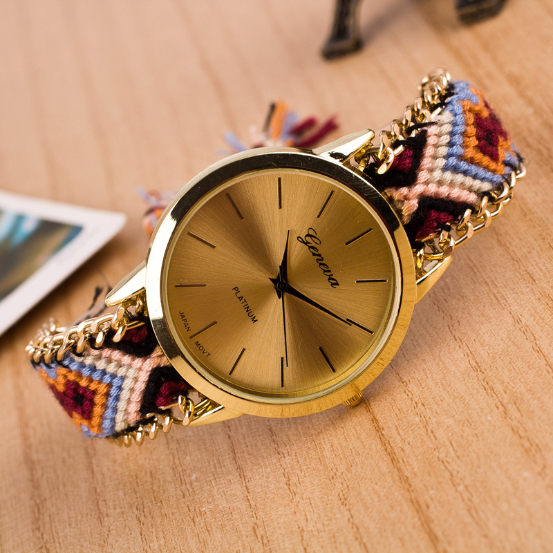 Zegarki Damskie  New Brand Handmade Braided  Fashion Bracelet Watch Women GENEVA Quartz Watch Clock  Relogio Feminino Gift