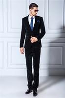 Latest Coat Pant Designs Smoking Black Velvet Men Suits Slim Fit Custom Groom Prom Party Tuxedo 2 Piece Blazer Terno Masculino Z