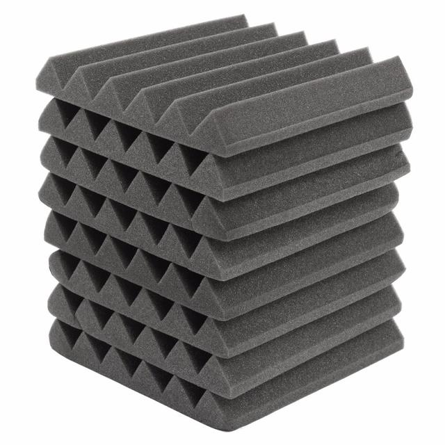 8 piezas 305x305x45mm aislamiento de espuma Acústica de Sonido tratamiento estudio habitación absorción cuña azulejos de poliuretano de espuma