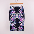 Neophil Royal Luxury Floral Print High Waist Elastic Hip Women Midi Pencil Skirts Bodycon Sexy Slim Plus Size Jupe Femme S07050