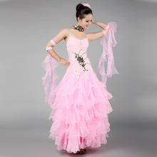 Female Modern Dance Dress High Quality Luxury International Standard Ballroom Dancing Girl Waltz Dance Clothes Tanggo Dress 18