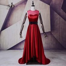 Burgundy Long Dress Hi Low Formal Dress Black Ankle length Dresses Graduation Party Dress Buttons Stain