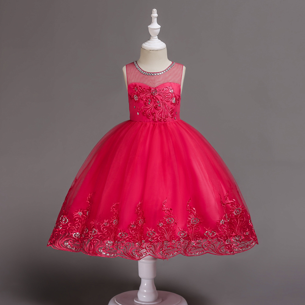 1-15Y Children Summer Flower Girls Dresses for Weddings Baby Girl Lace Sleeveless Party Frocks Birthday Kids Prom Dresses kids dresses for girls 2017 cute toddler kids baby girls lace party dresses children clothes one pieces 3 15y summer dress hs127