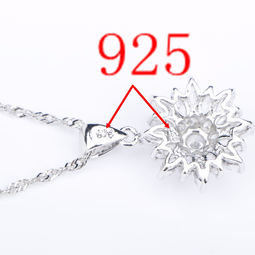 Image 5 - Natural White Zirconia Silver 925 Women Bridal Jewelry Sets Bracelets Rings Earrings With Stones Pendant&Necklace Set Gift Boxjewelry set 925jewelry setsset 925 -
