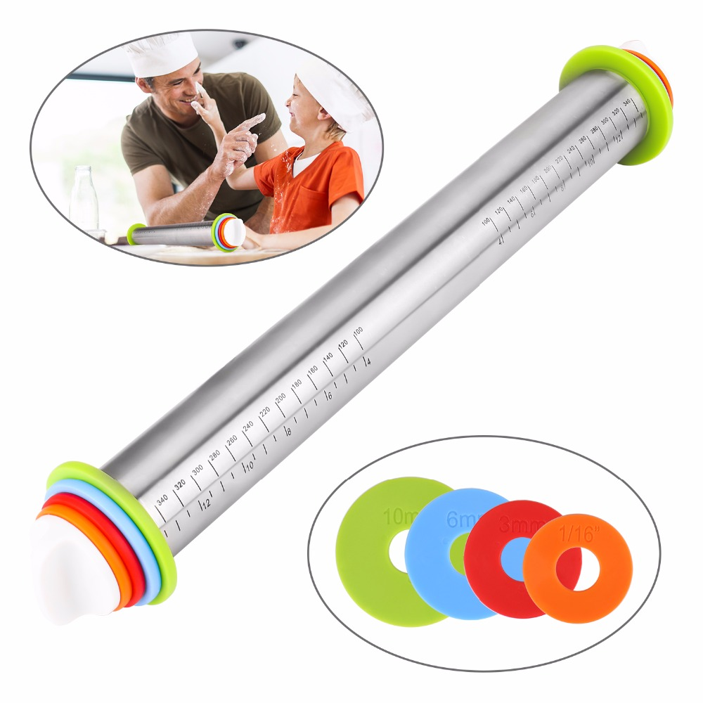 17inch Adjustable Stainless Steel Rolling Pin Kitchen Accessaries For Flour Noodles Tender Meat Garlic Rolling Bakeware Supplies