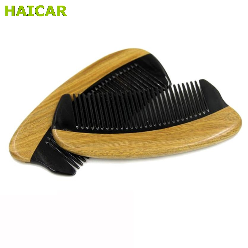 Horn Wood Pocket Beard Hair Comb Fine Tooth Natural Handmade Sandalwood Ox Horn Dropship Q0308 Борода