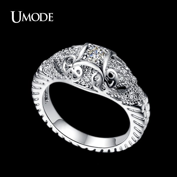 UMODE AAA Grade Round Simulated CZ Stone Double Elephants Silver