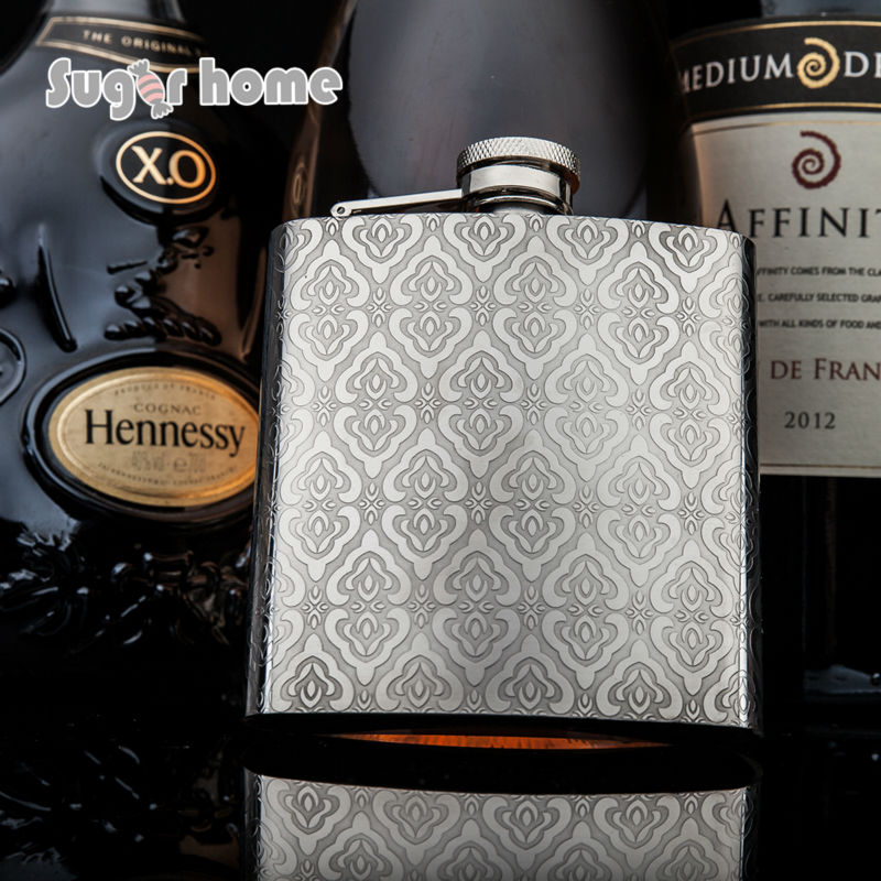 Mealivos flores Alimentos seguros 304 de Acero Inoxidable Petaca 6 oz Botella de Alcohol Licor vodka Whisky drinkware olla de vino de regalo
