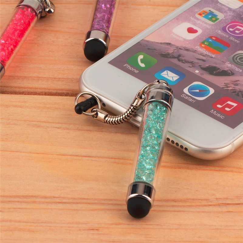FFFAS Diamond Crystal Stylus Touch Screen Pen Stylus 3.5mm Dust Plug Cap 2 In 1 For IPhone Tablet Android Phones Styluses Pen