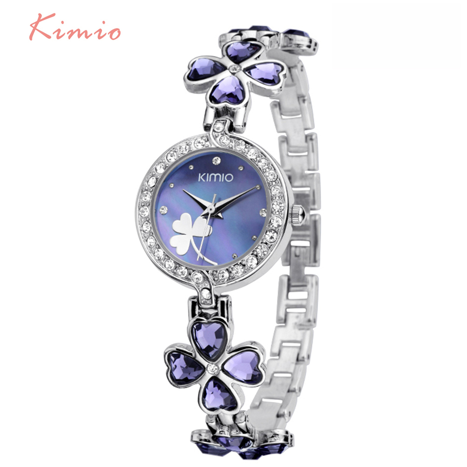 KIMIO Ladies Lucky Clover Love Crystal Strap Austrian Drilling Women Watches 2018 Luxury Brand Quartz Watches Woman Dress Clock fine kimio silver women watches crystal clover love ladies watch stainless steel 2016 dress woman wrist watches montre femme