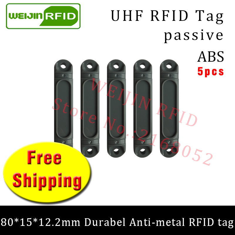 UHF RFID metal tag 915mhz 868mhz Impinj Monza4QT EPC 5pcs free shipping durable ABS metal Tray smart card passive RFID tags rs232 uhf rfid fixed reader impinj r2000 with 4 antenna ports for marathon sporting provide free sdk and sample card and tag