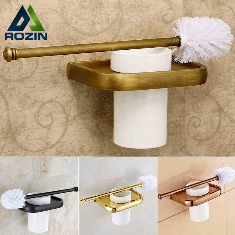 4-style Toilet Brush Holder Solid Brass Construction Base Ceramic Cup  Antique Brass/golden/rose golden/oil rubbed bronze free postage oil rubbed bronze tooth brush holder double ceramic cups holder
