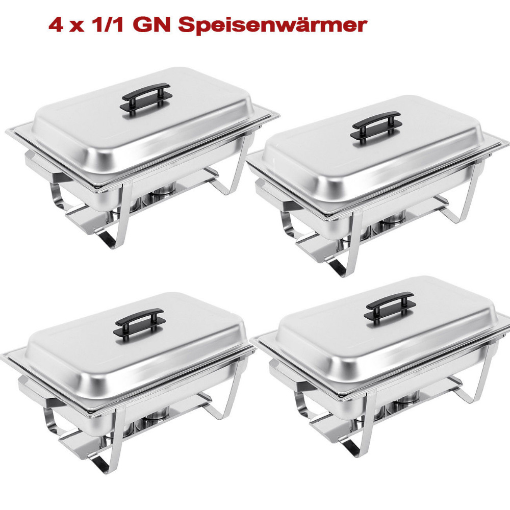 (Ship From EU) 4 Sets Chafing Dish Buffet Caterings Food Warmer Holding Tank Stainless Steel W/Tray Folding Chafer 9L