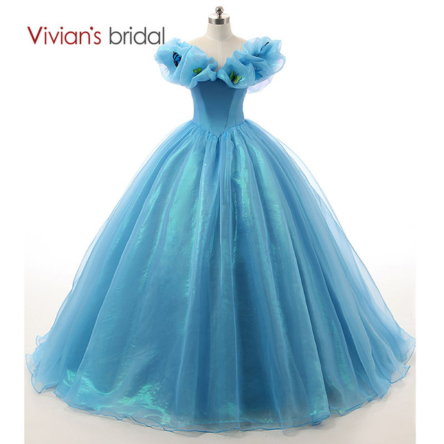 Princess Wedding Dresses Blue Cinderella Ball Gowns Weding Bridal ...