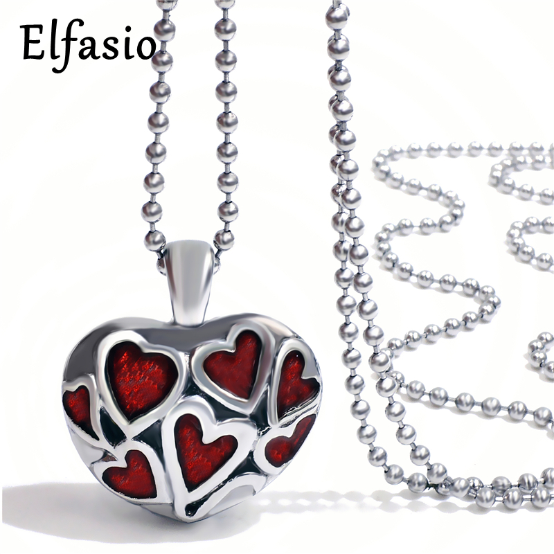 Cremation Red Hearts Keepsake Memorial Urn Stainless Steel Pendant Necklace  Chain Womens Jewelry UP024 2867a101d14e