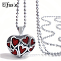 Cremation Red Hearts Keepsake Memorial Urn Stainless Steel Pendant Necklace Chain Womens Jewelry UP024